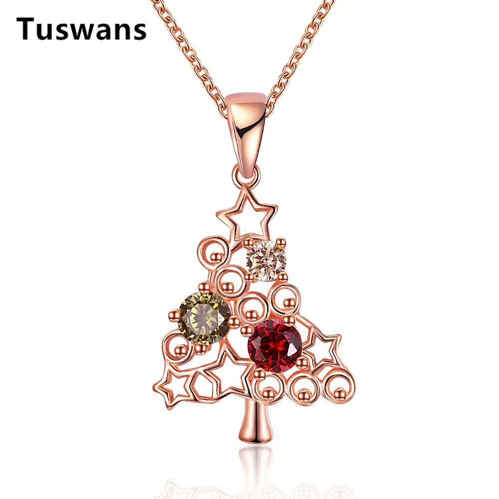 Lovely Christmas Tree Colorful Cubic Zirconia Stars Pendant Necklaces for Women Xmas New Year Best Gifts Rose Gold Jewelry 2018