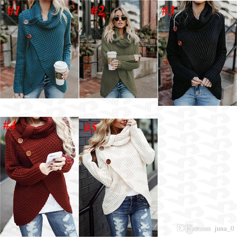 a98171136c 2019 Womens Sweaters Casual Cable Knit Wrap Pullover Sweater DHL Women S  Chunky Turtle Cowl Neck Asymmetric Hem Wrap Sweater Coat Button Details  From Juna 0 ...