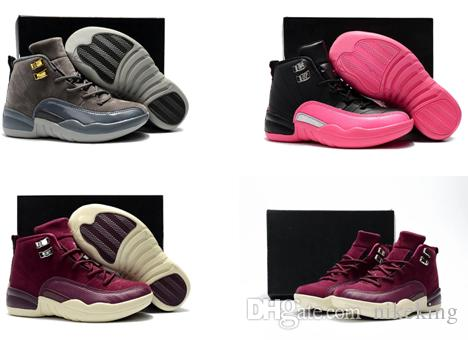 new styles bc761 3794f Childrens 12s Gym Red Pink And White Purple French Blue Boys Girls Birthday  Gift With 12 Kids Basketball Shoes Toddlers Shoes Box