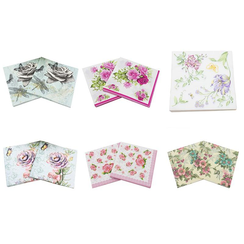 Printed flower paper napkins for wedding and party decoration tissue printed flower paper napkins for wedding and party decoration tissue fabric decoupage primary wood pulp napkin napkins for weddings napkins decoupage mightylinksfo