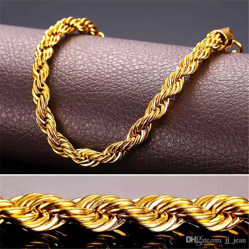 24 K Real Solid Gold Filled Collana Gli Uomini Pesanti 3/7 MM Charme Hip Hop Corda Gioielli Lunghi / Choker All'ingrosso Cuban Catena a maglia Spedizione Gratuita