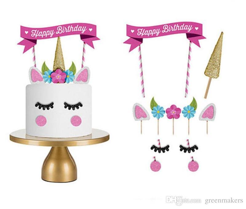 Grosshandel Handgemachte Rosa Einhorn Party Cake Topper Hochzeit