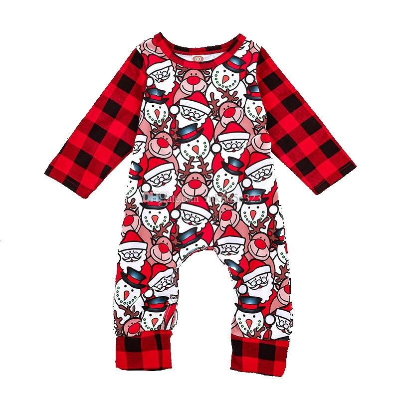 019b34aa1cc 2019 2018 Christmas Infant Rompers Baby Boys Girls Cute Cartoon Deer Santa  Claus Checks Jumpsuits Babies Toddler Clothes Children Clothing From  Mk665e323