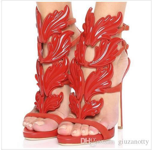 Gold Silber Weinblatt Gladiatoren Stiletto Heels Echtes Leder Strappy Hochzeit Braut Kleid Schuhe große Größe Euro 43