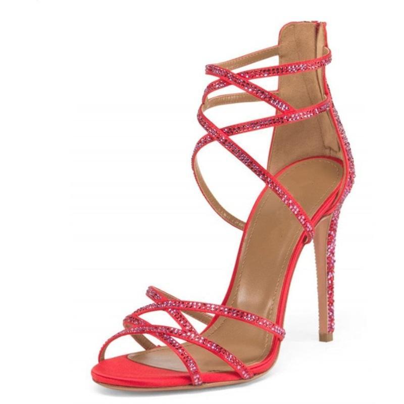 2018 Thin Compre Bling Sandalias Mujer Rojos Crystal Zapatos thQdxrsC