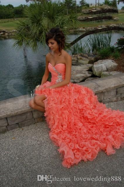 Hottest Coral Organza Ruffles Prom Dresses Beading Details Sweetheart Sleeveless Cheap High Low Party Gown 2017