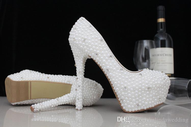 Moda Lüks Inciler Kristaller Düğün Ayakkabı Custom Made Boyutu 11 cm Yüksek Topuk Gelin Ayakkabıları Parti Balo Kadın Ayakkabı Ücretsiz nakliye