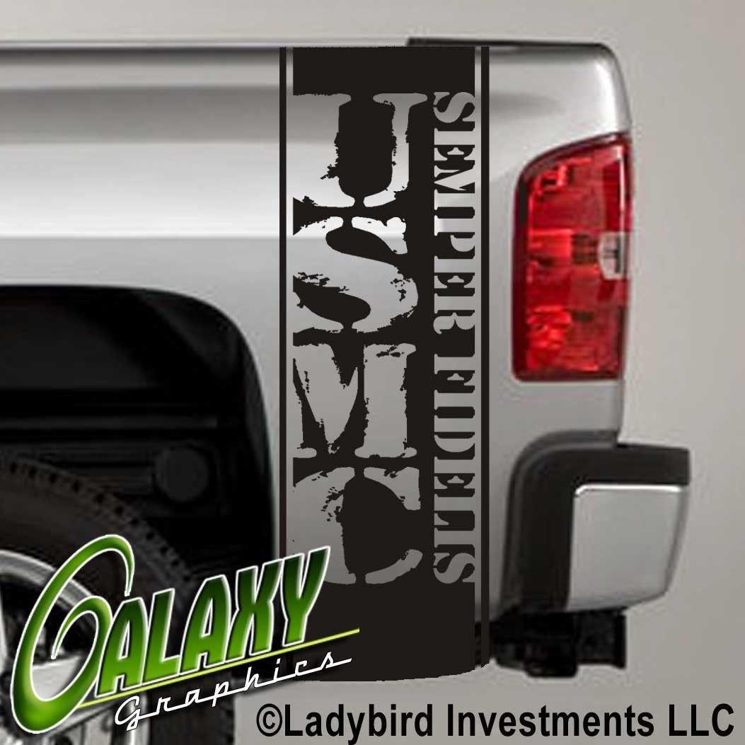 2019 For Universal Usmc Decal Truck Bed Side Stripes X2