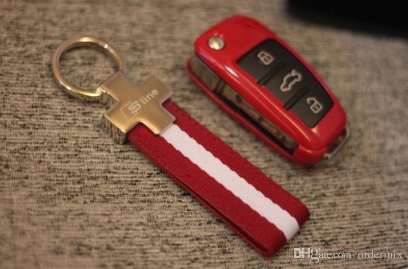النايلون الجلود سلاسل المفاتيح سلاسل المفاتيح سيارة فوب يناسب لأودي سيارة شعار sline كيرينغ a3 a4 a6 a7 a8 tt rs q5 q7 سيارة التصميم