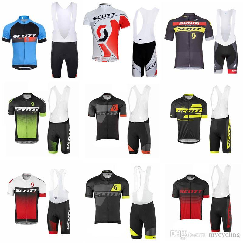 2d2cbe3ec Summer 2018 Team SCOTT Cycling Clothing MTB Bike Wear Clothes Pro Cycling  Jersey Gel Pad Bib Shorts Sets Ropa Ciclismo Suits F0204 Bike Jersey Cycling  T ...