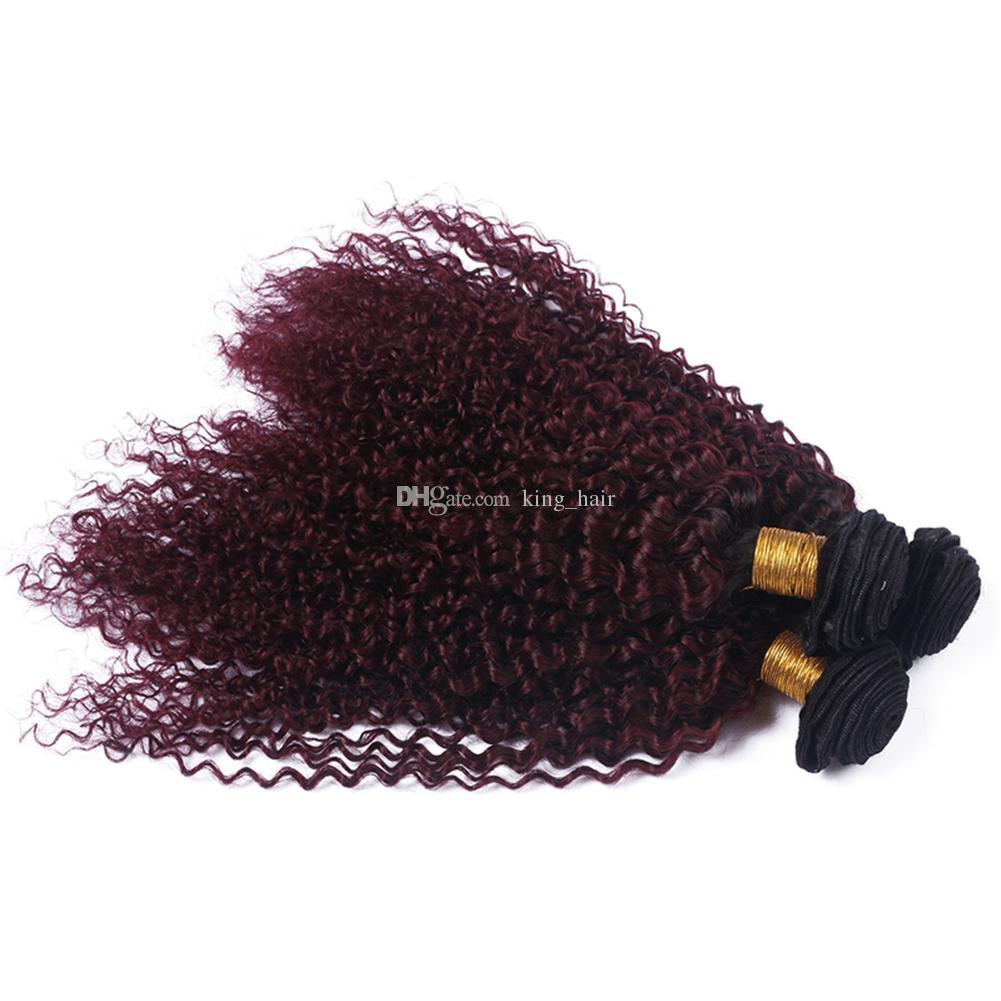 Dark Roots 1B 99J غريب مجعد الشعر ينسج مع إغلاق الدانتيل أومبير اللون النبيذ الأحمر 99j مجعد الشعر 3 حزم مع إغلاق 4x4