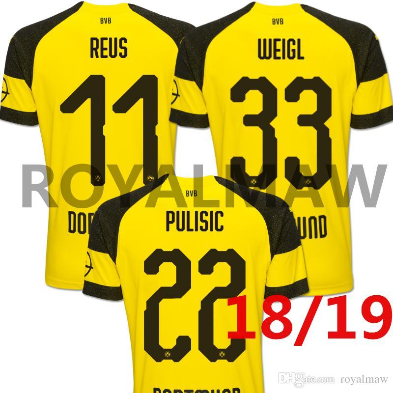 e946b0f2d Dortmund Jersey 2019 Thai Version BVB Trikots Home Soccer Shirt 18 ...