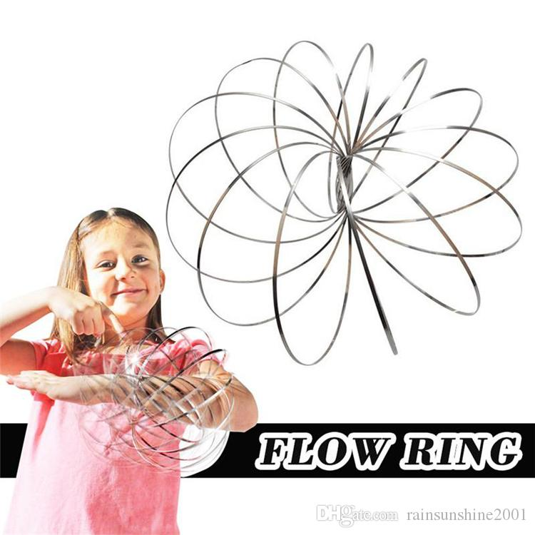 New Stainless Steel Toy Magic Toroflux Flow Rings Funny Kinetic Spring Toy Intelligent Science Games Education sculpture For Kids in All Age