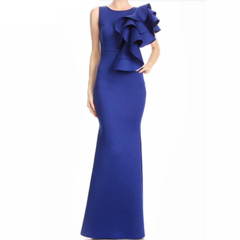 Acquista Abito Estivo 2018 Blu Ruffle Abito Lungo Elegante Donna Sexy Senza  Maniche Bodyson Nightout Wear Evening Party Maxi Vestidos A  51.2 Dal  Firstcloth ... 8dc807da1d1