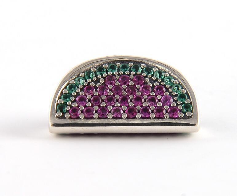 Pave Sandwiches Charms Bead adapta a Pandora Pulseras Diy Jewelry Making 925 Sterling Silver Red CZ Fruit Beads
