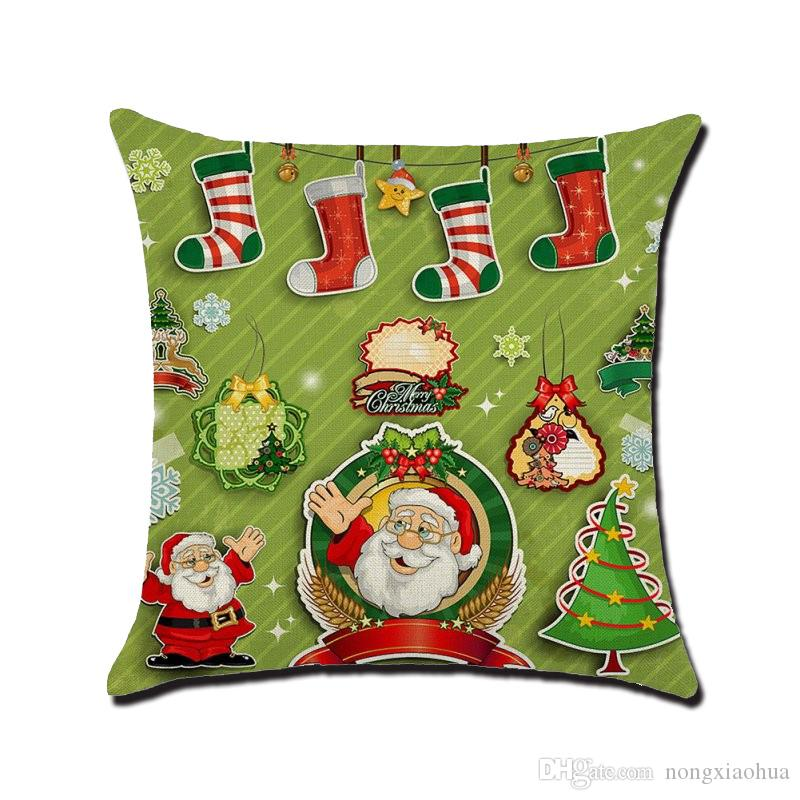 Father Christmas printed with pillowcase , cotton and linen cushion cover use for sofa, chair, car and decorative home furnishing