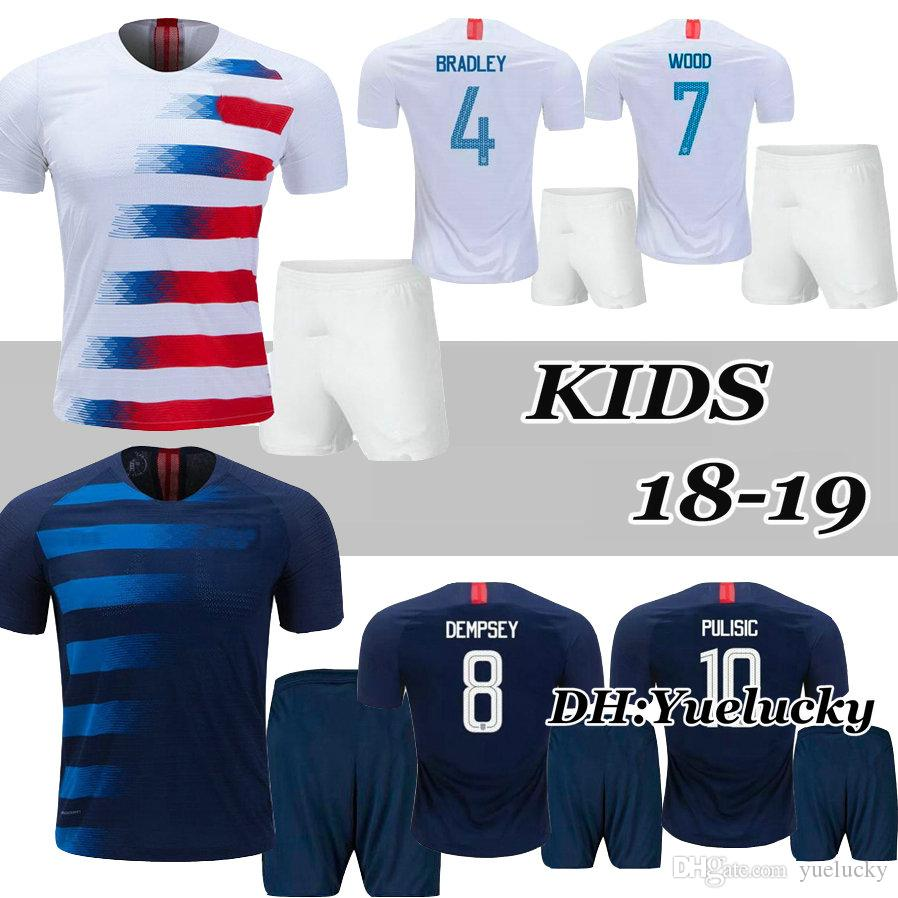 2019 Kids Kits World Cup U PULISIC Soccer Jersey 2018 S DEMPSEY BRADLEY  ALTIDORE United States 18 19 Child Boys Away Football Shirt From Yuelucky ac328c79d
