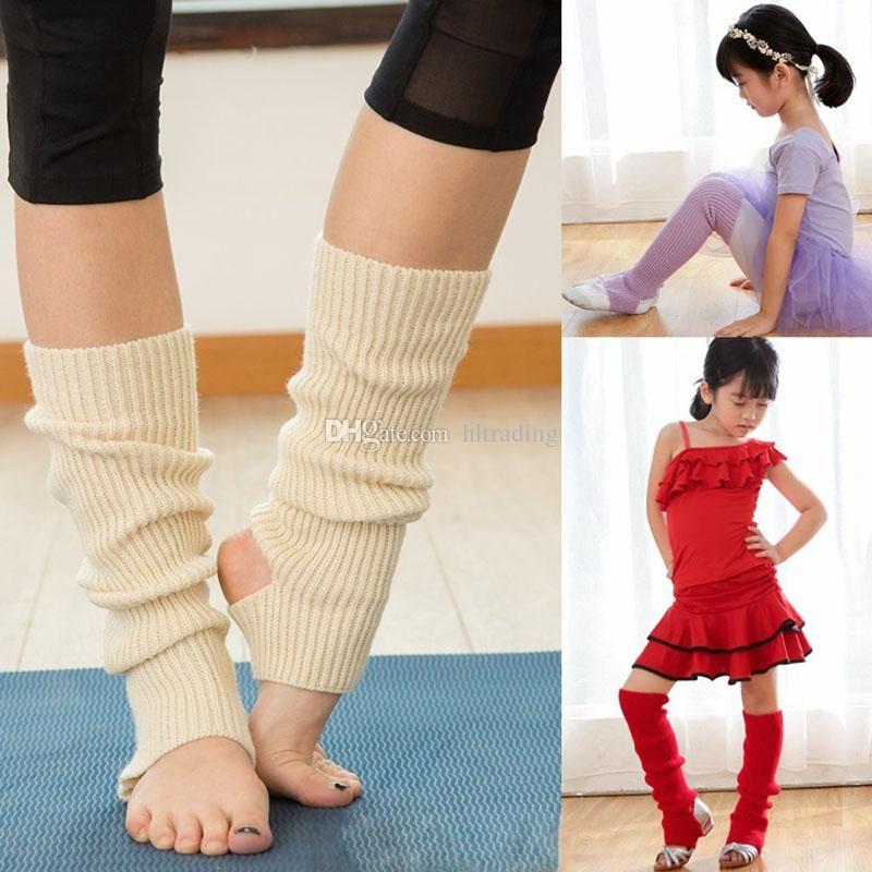 Großhandel 10 Farben Ballett Beinlinge Frau Kinder Stricken Socken