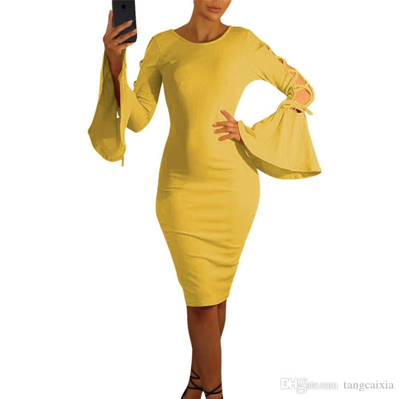 Wholesale Women Sheath Solid Color Knee-length Flare Hollow Out Sleeve Sexy Slim Pencil Dress