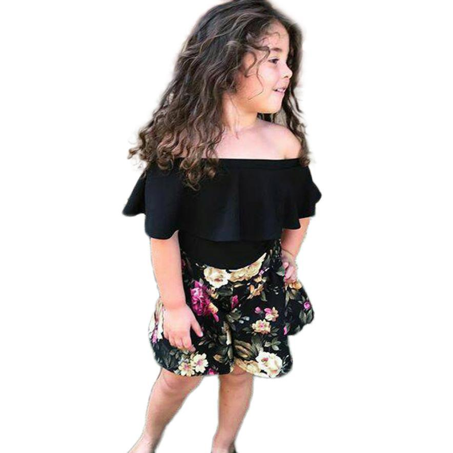 Girls Clothes Toddler Baby Girls Sleeveless Off Shoulder Solid Tops+ Floral Shorts Outfits Set Roupas Infantis Menina 2018 #