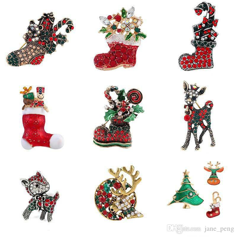 Retro Christmas Socks Deer Shoes Crystal Brooches Pin for Children Breastpin X'mas Gift Rhinestone Clothes Accessories Decor Badge Lapel Pin