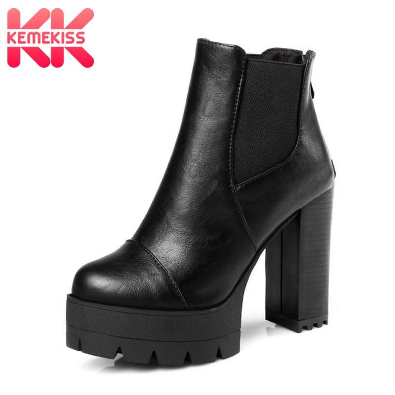 bb341b48 Compre KemeKiss Tamaño 33 43 Mujeres Medio Botas Cortas Tacones Altos Mujer  Zapatos Sólidos Elásticos Plataforma Botas De Tacón Grueso Zapatos De  Invierno A ...