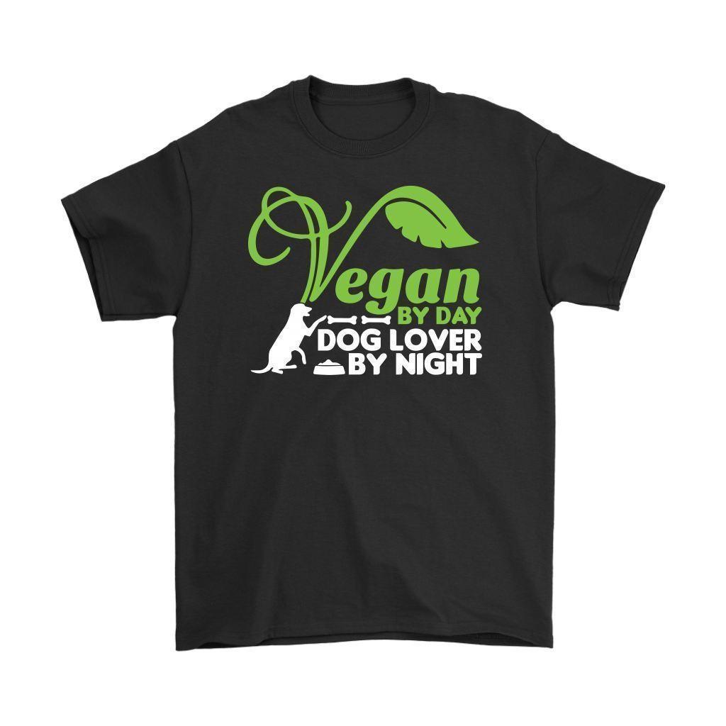 0a1ba838803 Vegan Shirt Vegan By Day Dog Lover By Night Mens T-Shirt Clothing T ...