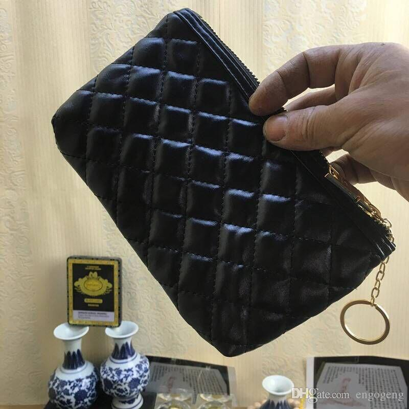 NEW!Fashion makeup bag famous logo quilted gold black color with box cosmetic case luxury party makeup organizer bag clutch bag(Anita)