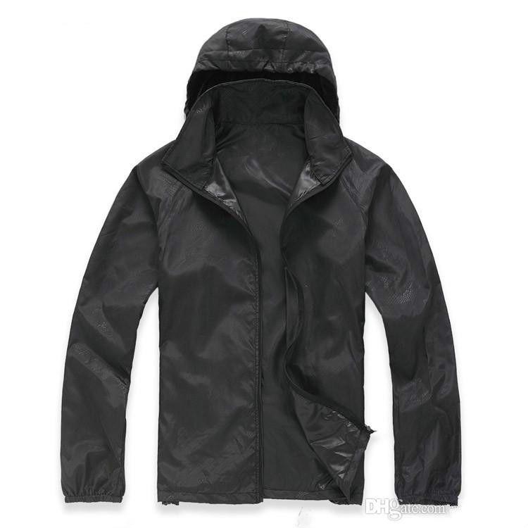 b16eba155fb3 2018 New Summer Womens Mens Brand Rain Jacket Coats Outdoor Casual Hoodies  Windproof And Waterproof Sunscreen Face Coats Black White XS XXXL Nice Mens  ...
