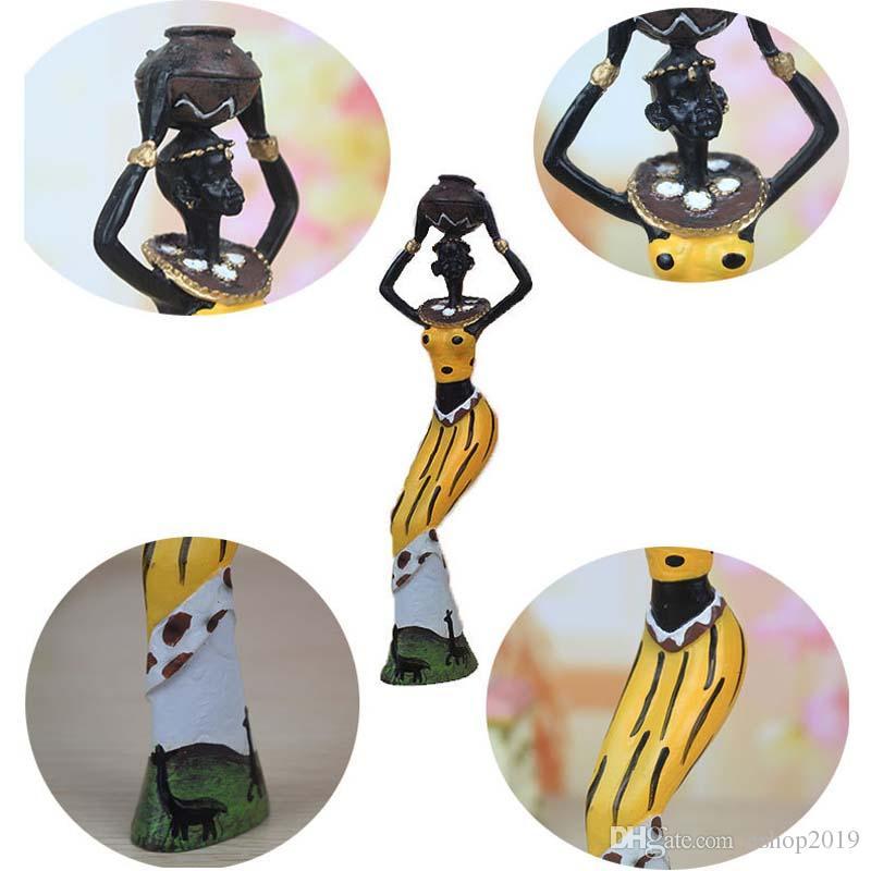 3 Pz Retro African Lady Con Vaso Ornamento Statua Etnica Sculture Cultura Nazionale Figurine Home Decor Art Artigianato Regali