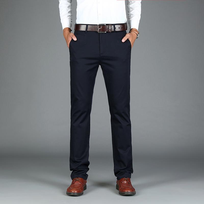 Compre Nueva Boda Formal Hombres Traje Pantalones Pantalones De Traje De  Negocios De Corte Recto De Buena Calidad Pantalones Grises Elásticos Del ... 5dd98a73461d