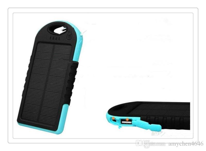 Phone Power 5000mAh Solar power bank waterproof shockproof Dustproof portable Solar powerbank External Battery for Cellphone iPhone 7 7Plus