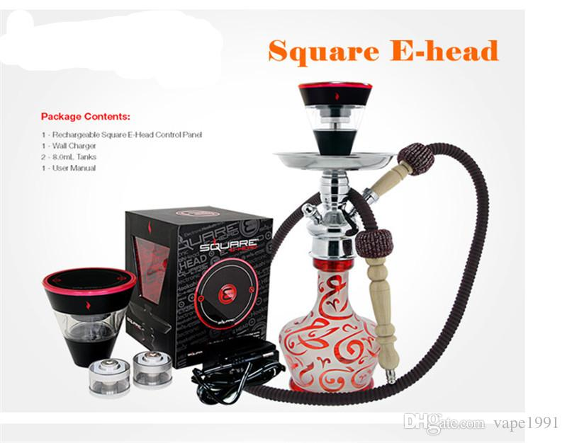 Square e head ehead e hose mini shisha Square electric hookah Cartridge Refillable ehookah Disposable Hookah 2400MAH Vaporizer 8ml Head