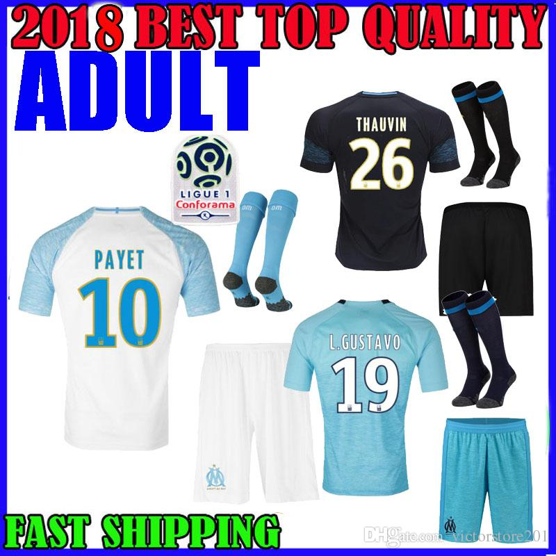 ADULT KIT 18 19 Olympique De Marseille Soccer Jersey Home Away 2018 ... f6771c4f2