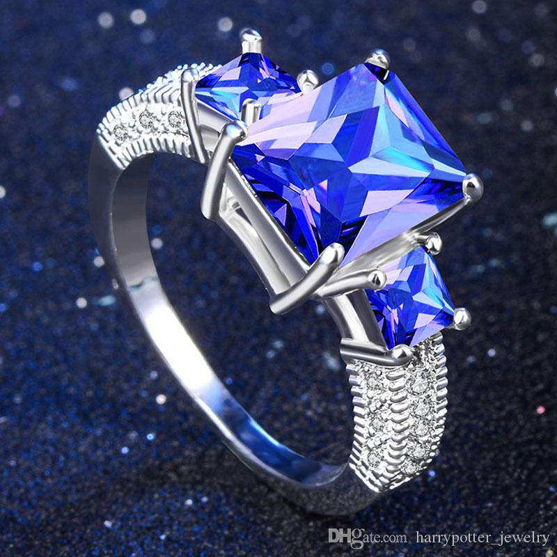 Top Quality Princess Blue Gem Created Blue Crystal Silver Color Wedding Finger Crystal Ring Jewelry for Women drop ship