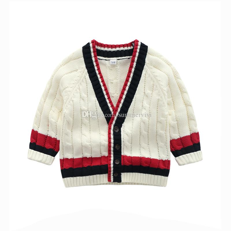 0bc312033 Preppy Style Kids Cardigan Boys Stripe V-neck Long Sleeve Sweater ...