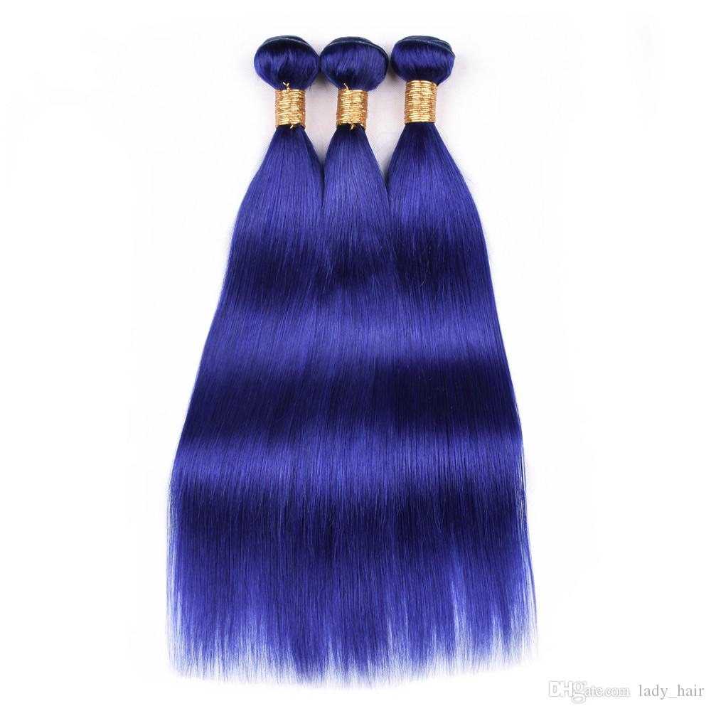 Virgin Brazilian Pure Blue Human Hair Bundles with Lace Frontal 13x4 Straight Dark Blue Ear to Ear Full Lace Frontal Closure with Weaves