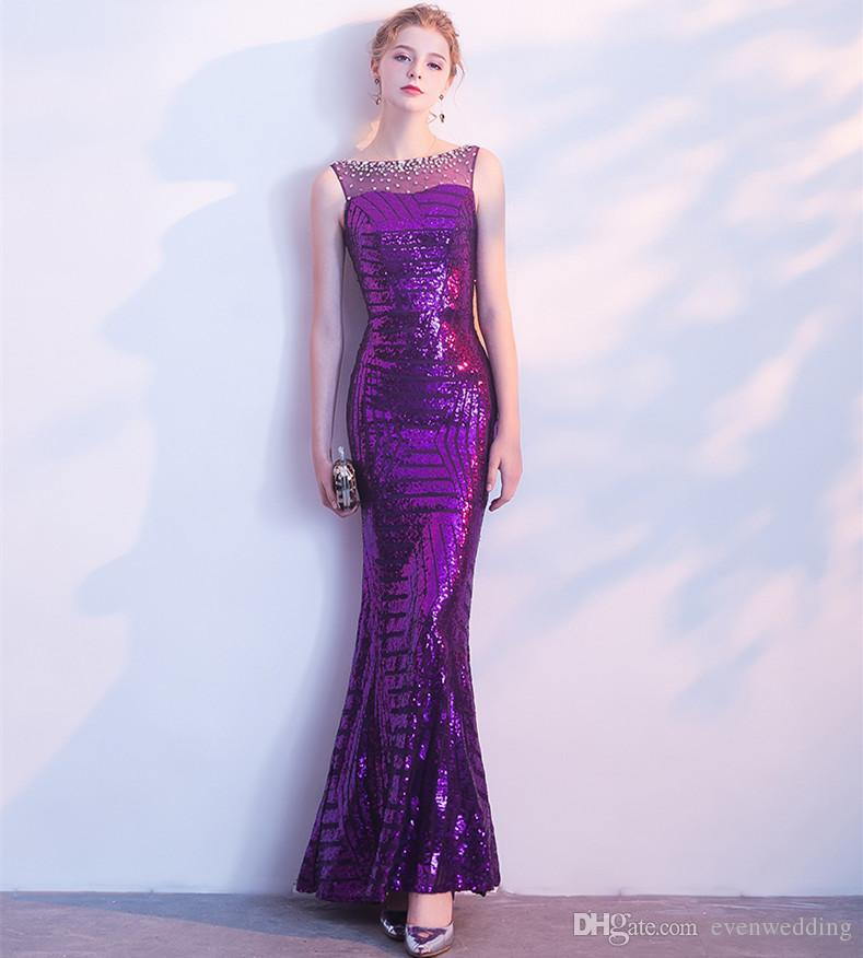 b21afc5e0c Purple Sequins Mermaid Evening Dresses With Open Back 2018 Scoop Neck Prom  Gowns Floor Length Formal Dress Special Occasion Evening Dresses Womens  Evening ...