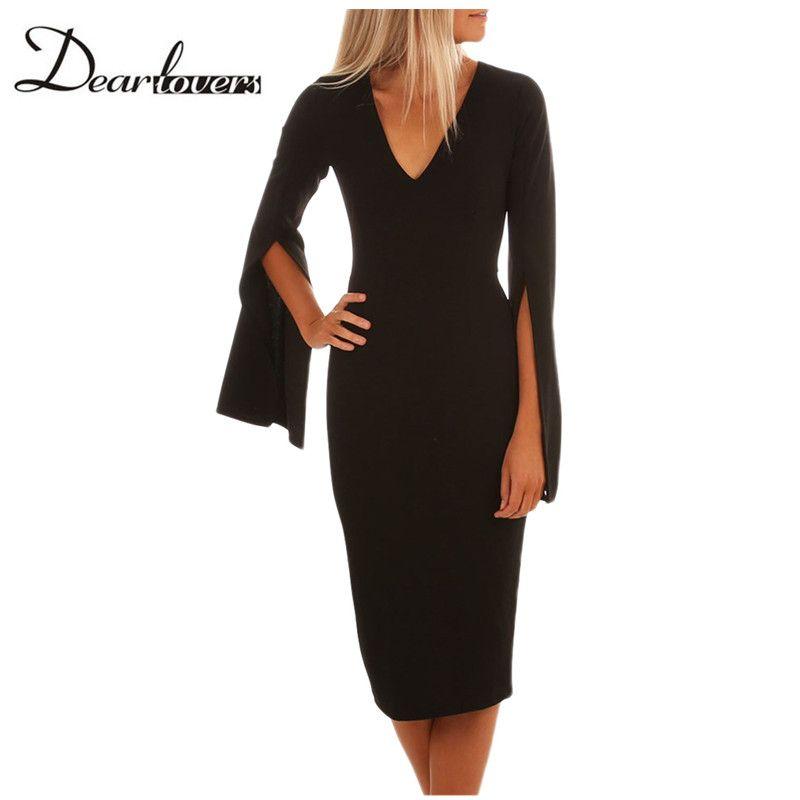 2019 Dear Lovers New Autumn Winter Women Dress Black Split Bell Sleeves V  Neck Bodycon Midi Dress LC610199 Burgundy From Carawayo 35452a05a
