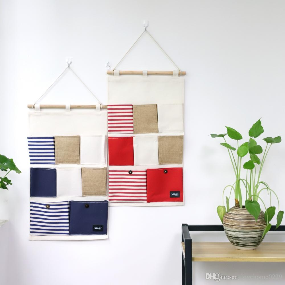 Mur porte placard sac de rangement suspendu lin / coton tissu marine stripe  8 poches sac à débris étanche organisateur titulaire organisateur de la ...