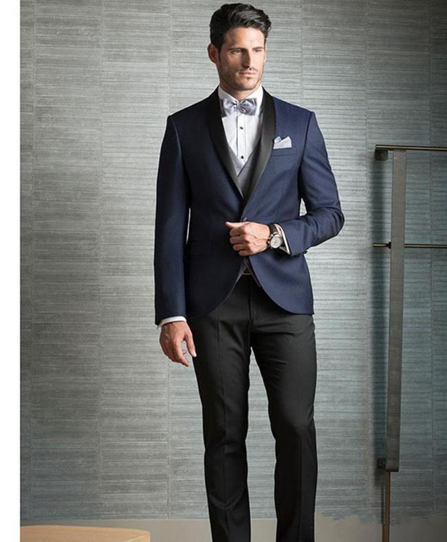 Classic Cheap Three Pieces Dark Navy Men Suits For Wedding Slim Fit Groomsmen Tuxedos One Button Formal Men Business Suit jacket+pant+vest