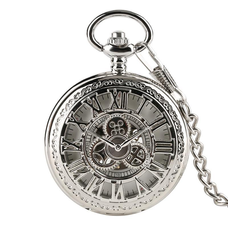 5d86f1c9ce2 Compre Clássico Mão Enrolamento Oco Engrenagem Roman Prata Mecânica Relógio  De Bolso Cadeia De Relógio Número Romano Das Mulheres Dos Homens Relógio  Único ...