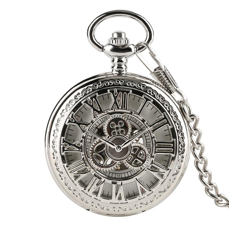 Classic Hand Winding Hollow Gear Roman Silver Mechanical Pocket Watch Chain Clock Roman Number Men Women Unique Clock for Gifts