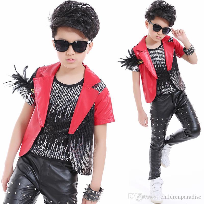 Compre 2018 Nueva Moda Desgaste De La Danza Niños Niños Traje Traje De  Escena Para Niños Street Dance Jazz Rendimiento Lentejuelas Remaches Hip  Pop Traje A ... 3275abefe4f