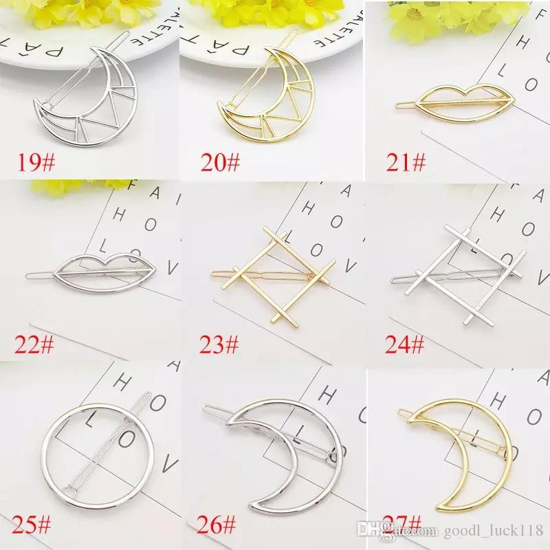 2018 New Promotion Trendy Vintage Circle Lip Moon Triangle Hair Pin Clip Hairpin Pretty Womens Girls Metal Jewelry Accessories
