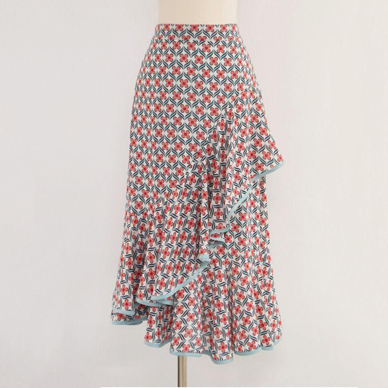 Compre 2018 Nuevas Faldas De Primavera De Las Mujeres Versión Coreana De La  Falda De La Torta Borde Floral Impreso Largo Borde De La Hoja De Loto A   33.77 ... f4e314b53962