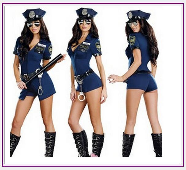 05b571e2f Compre 2017 Mulheres Sexy Traje Cop Outfits Adulto Mulher Homens Cosplay  Mulher Romper Fancy Dress Halloween Costume De Fangfen