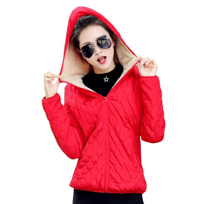 f8d9de832636 2018 Women Winter Jacket Hooded Fleece Solid Coat Spring Thin ...