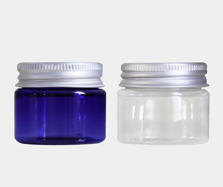 Garrafa vazia pequena plástica clara de creme plástica azul do ANIMAL DE ESTIMAÇÃO 30ml do frasco 30ml com empacotamento cosmético do tampão de parafuso de alumínio