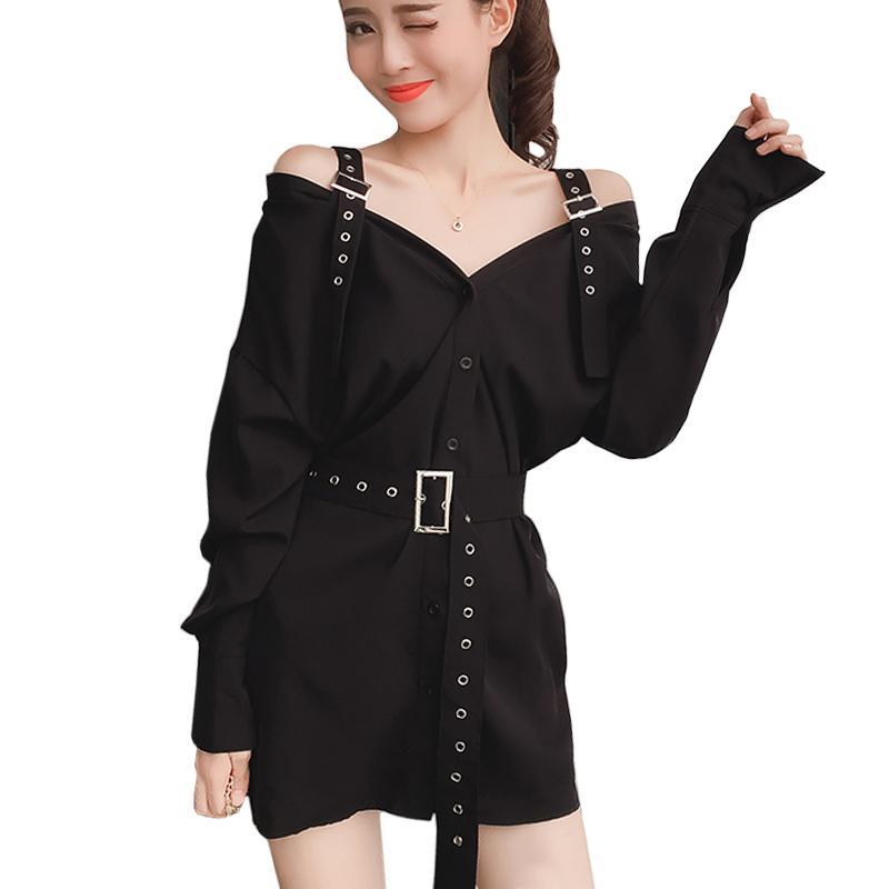 2019 Black Punk Style Mini Sexy Dress Strap Autumn Shirt Dress With